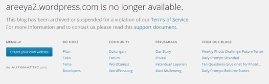 wordpress blog suspended