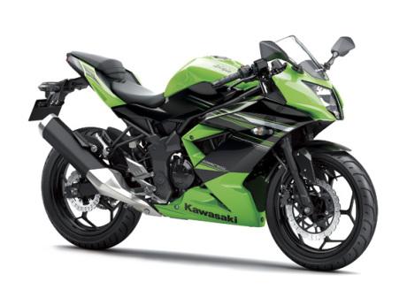 Kawasaki Ninja 250RR Mono warna hijau dengan stripping