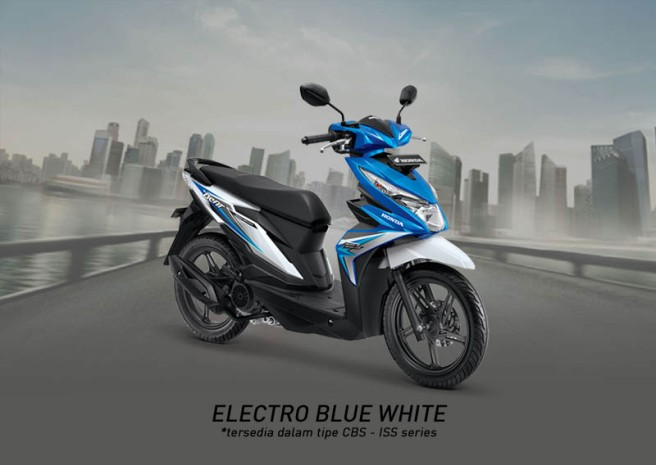 Honda Beat Warna Electro Blue White