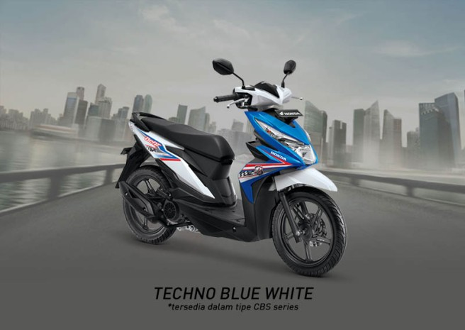 Honda Beat Warna Techno Blue White